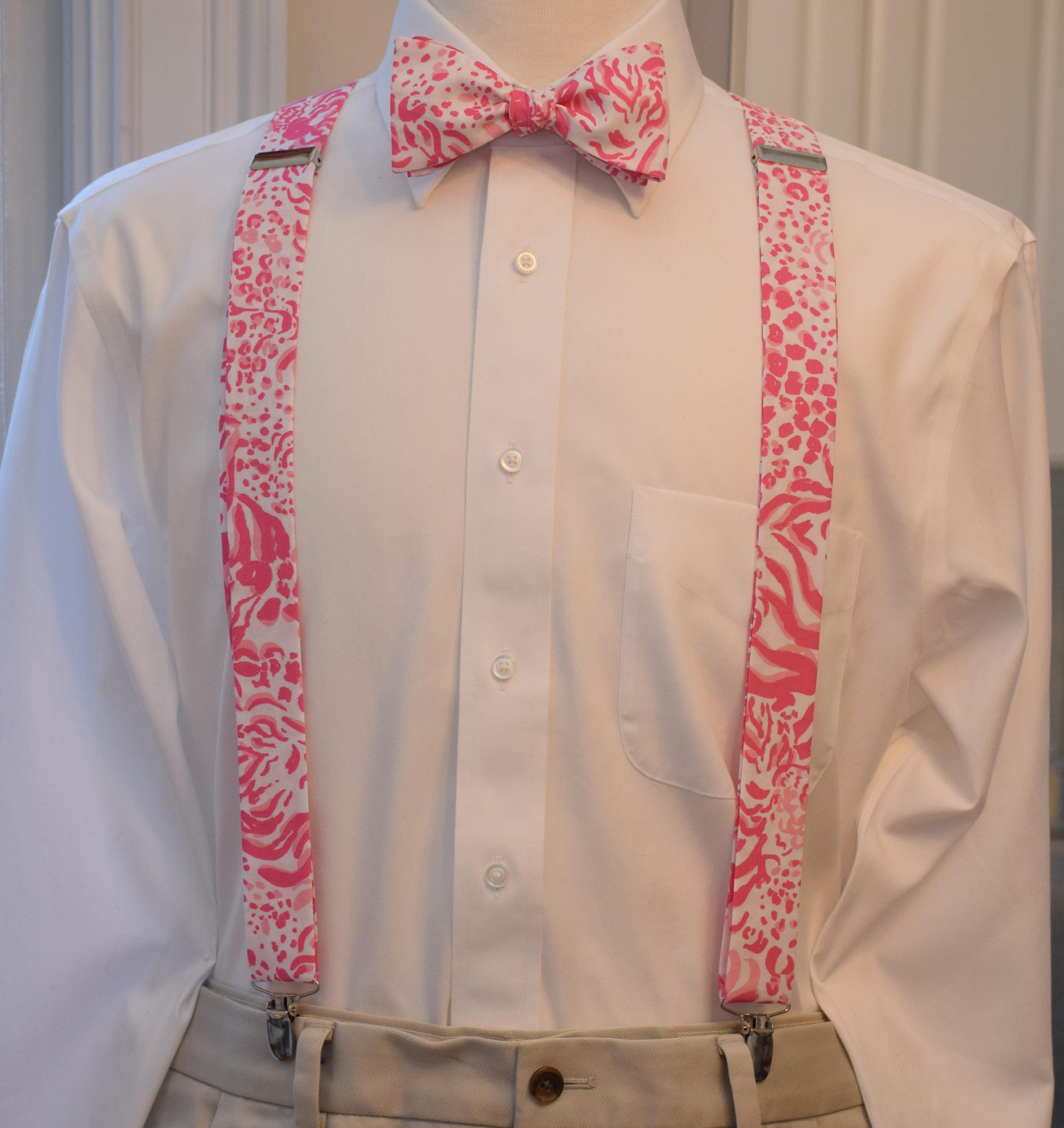 Men S Suspenders Bow Tie Set Lilly Pink White Get Spotted Clip