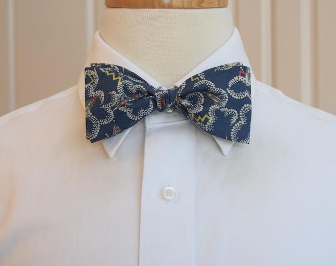 Men's Bow Tie, blue/ivory spaceships Rocket Dance design, astronaut gift, space exploration, wedding bow tie, groom/groomsmen, rocket lovers