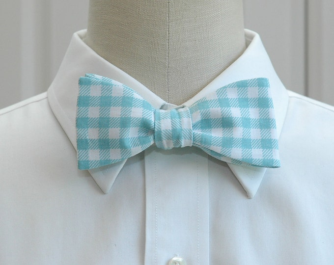 Men's Bow Tie, aqua and white large gingham plaid bow tie, wedding bow tie, groom bow tie, groomsmen gift, prom bow tie, pale blue bow tie