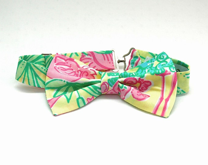 Boy's Bow Tie, Lilly lemon sorbet Snowbirds print, father/son matching bow ties, ring bearer bow tie, toddler bow tie, pink/yellow bow tie