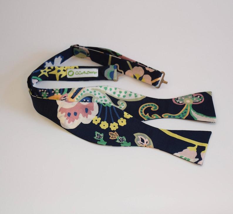 groomgroomsmen bow tie Men/'s Bow Tie dark navy multi floral Symphony print bow tie tuxedo accessory wedding bow tie Liberty of London