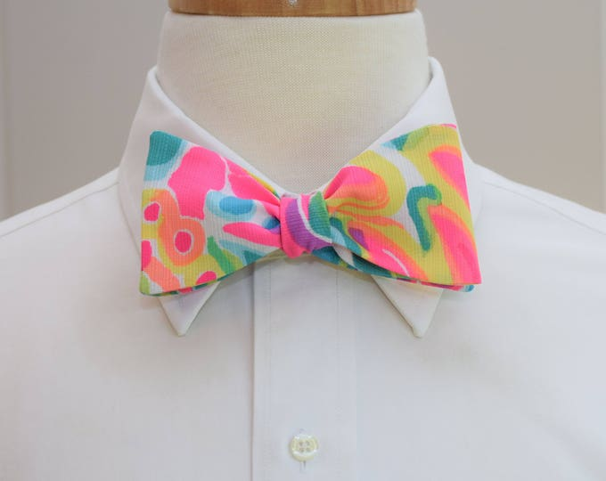 Men's Bow Tie, Come Out of Your Shell bright multi Lilly print, wedding bow tie, groom bow tie, groomsmen gift, rainbow bright bow tie,