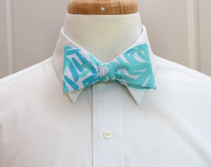 Men's Bow Tie, seaside aqua Home Lilly print, wedding bow tie, groom bow tie, groomsmen gift, aqua bow tie, robins egg blues bow tie,