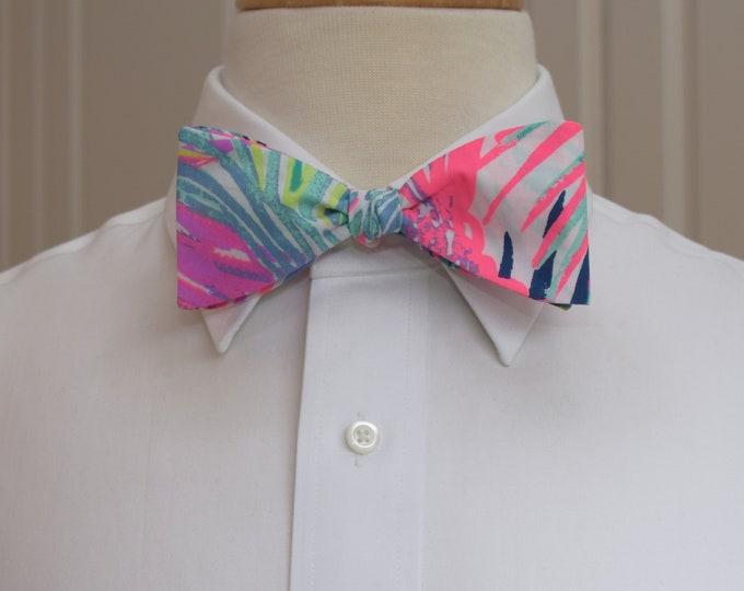 Men's Bow Tie, Scarlet Macaw Lilly print, aqua/pinks/blues multi color wedding bow tie, groom/groomsmen bow tie, prom bow tie, tux accessory