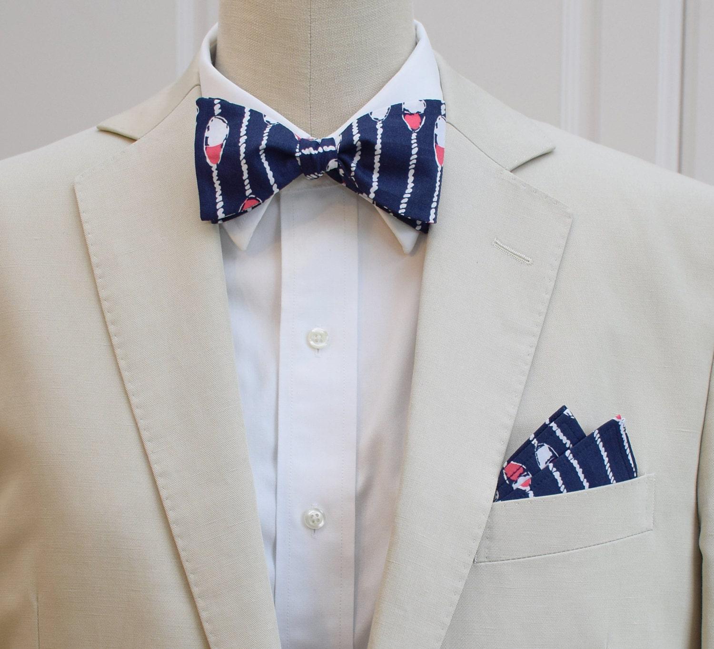 Mens Pocket Square Bow Tie Set Navy Pink Swim Lanes Groom