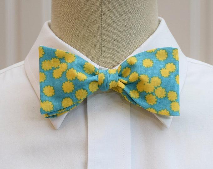 Men's Bow Tie, turquoise/yellow flowers, wedding bow tie, groom/groomsmen bow tie, sunshine yellow bow tie, floral bow tie, prom bow tie