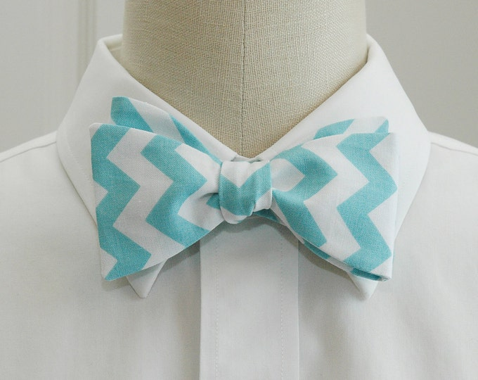 Men's Bow Tie, aqua/white chevrons, geometric print bow tie, wedding party bow tie, groom/groomsmen bow tie, robin's egg blue/white bow tie