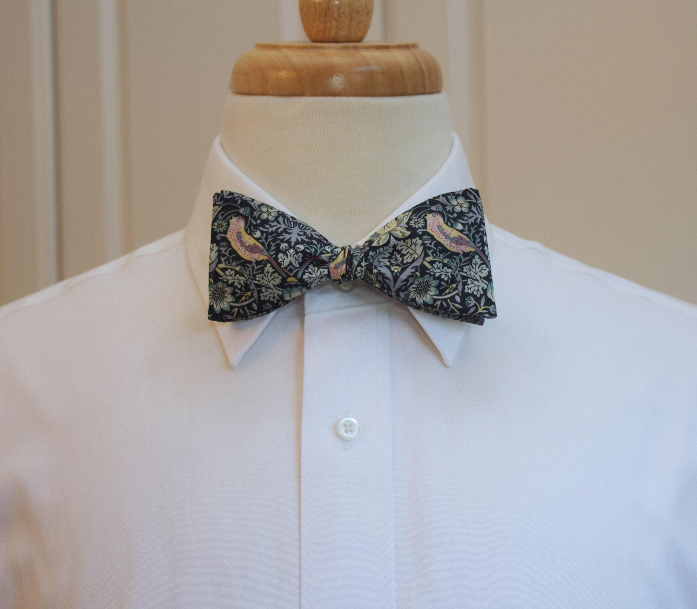 20712f1c4928 Men's Bow Tie, Liberty of London, black/grey/beige/pink Strawberry ...