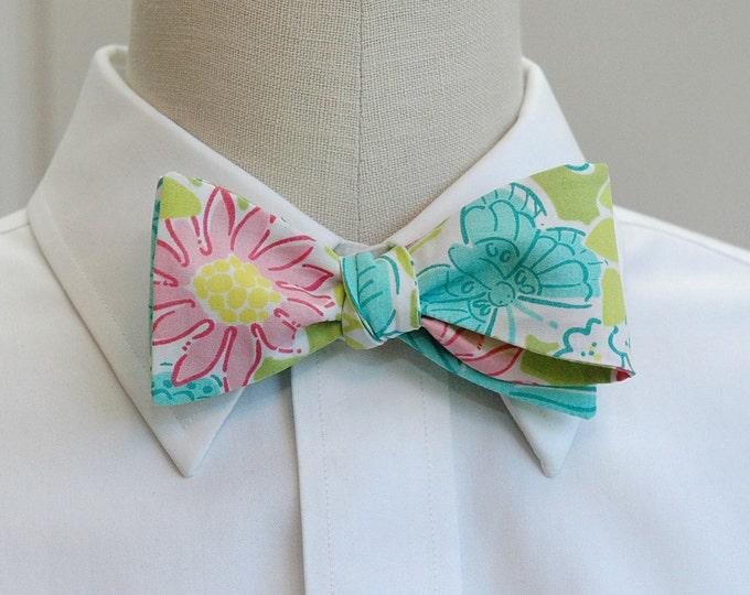 Men's Bow Tie, Hidden Garden green/pink/aqua Lilly print bow tie, retro Lilly floral print bow tie, green wedding bow tie, groom bow tie,