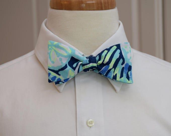 Men's Lilly Bow Tie, Sunset Swim blue Lilly print, wedding bow tie, groomsmen's gift, groom bow tie, prom bow tie, Kentucky Derby bow tie