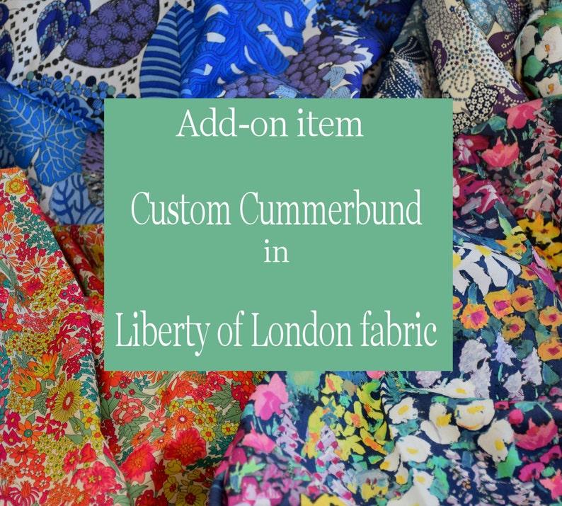 Custom handmade cummerbund LIBERTY of LONDON fabric wedding image 0