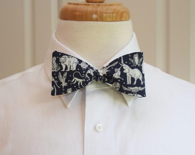 Men's Bow Tie, Liberty London Midnight Mischief navy/ivory print, animals bow tie, zoo wedding bow tie, veterinarian, groom/groomsmen gift