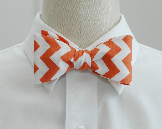 Men's Bow Tie, white/orange chevrons, wedding party wear, groom/groomsmen bow tie, orange/white bow tie, Clemson colors bow tie, tux bowtie