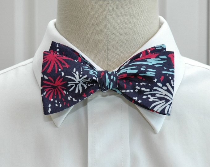 Men's Bow Tie, Sparks Fly Glow Lilly print, navy/pink/white/aqua bow tie, 4th July bow tie, Independence Day bow tie, patriotic bow tie