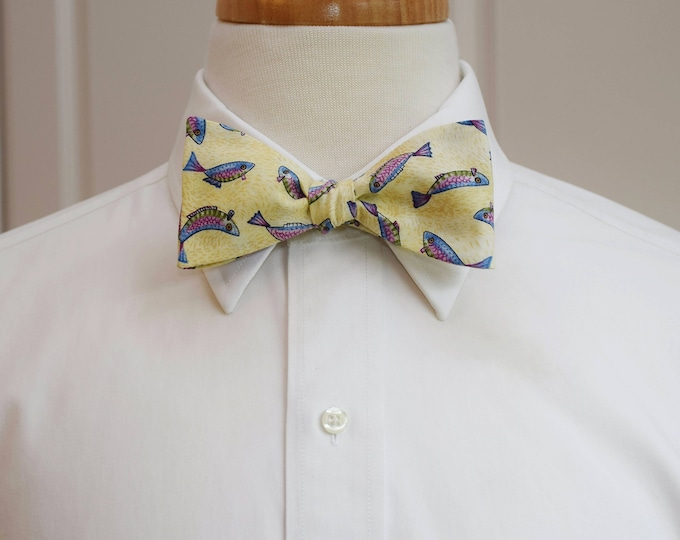Men's Bow Tie fish, ivory/cream fisherman's bow tie, angler bow tie, angler's gift, trout bow tie, sport fishing bow tie, self tie bow tie