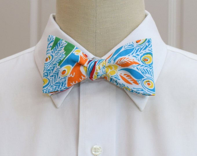Men's Bow Tie, Shake your Tail Feather, turquoise, multi color, groomsmen gift, wedding bow tie, groom bow tie, Carolina Cup bow tie, prom
