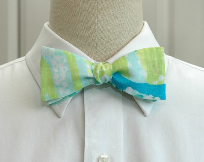 Men's Bow Tie, Sea R Chins  turquoise/aqua/lime linen Lilly bow tie, beach bow tie, wedding bow tie, groom/groomsmen bow tie, prom bow tie,