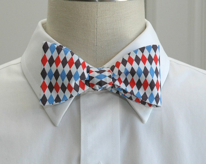Men's Bow Tie, red, white and blues harlequin diamonds, patriotic print bow tie, wedding party wear, groomsmen gift, July 4th bow tie