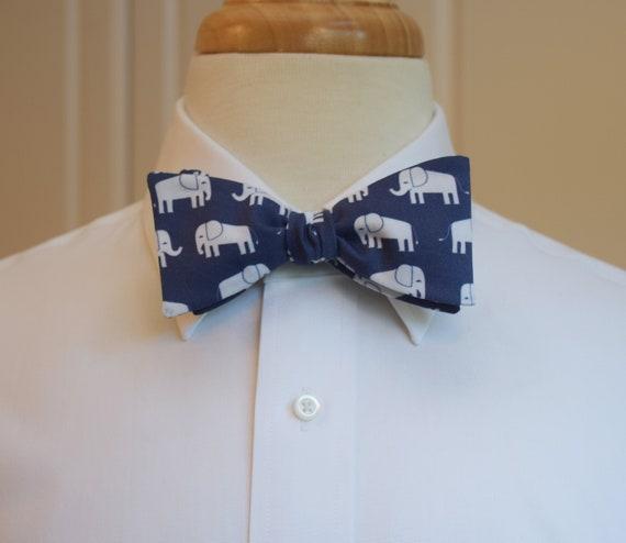 Qujki Blue Ctue Elephant Suspenders Bowtie Set-Adjustable Length