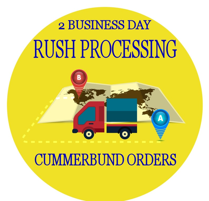 Rush order processing for 1 custom hand made cummerbund & bow image 0