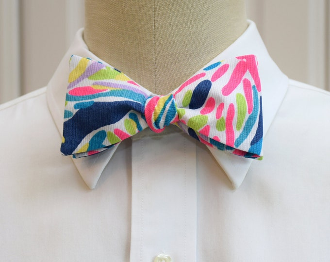 Men's Bow Tie, blue, hot pink, lime abstract print bow tie, groomsmen/groom bow tie, wedding bow tie, tuxedo accessory, prom/formals bow tie