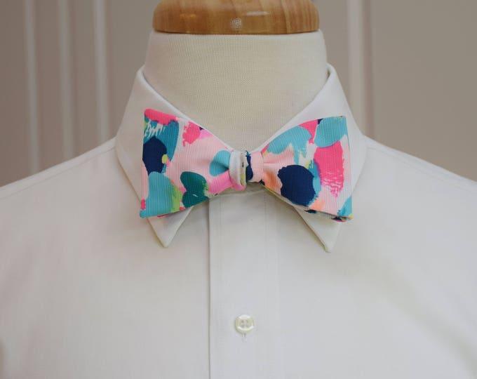 Men's Bow Tie, Pina Colada Club multi color 2017 Lilly print, groomsmen gift, wedding bow tie, groom bow tie, prom bow tie, Carolina Cup tie