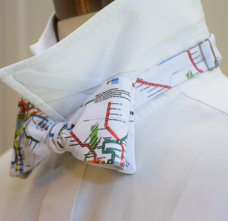 Dc Subway Map Pillow.Men S Bow Tie In Washington D C Metro Map Design Self Tie