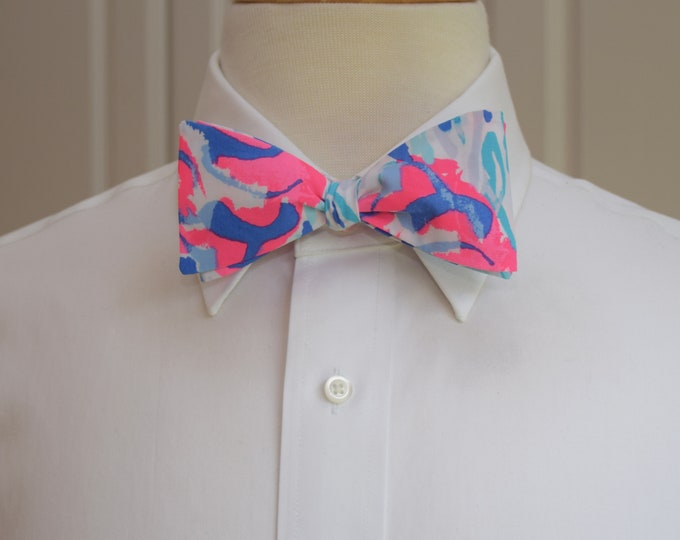 Men's Bow Tie, Cracked Up Lilly lobster print, hot pinks/blues wedding bow tie, groom/groomsmen bow tie, Derby bow tie, tuxedo accessory