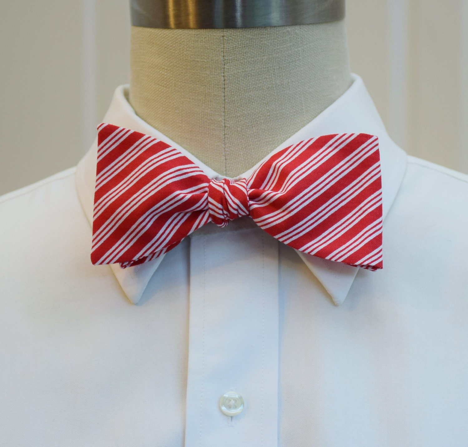 mens bow tie redwhite stripes bow tie candy cane stripes bow tie christmas bow tie groomsmen gift holiday bow tie festive bow tie