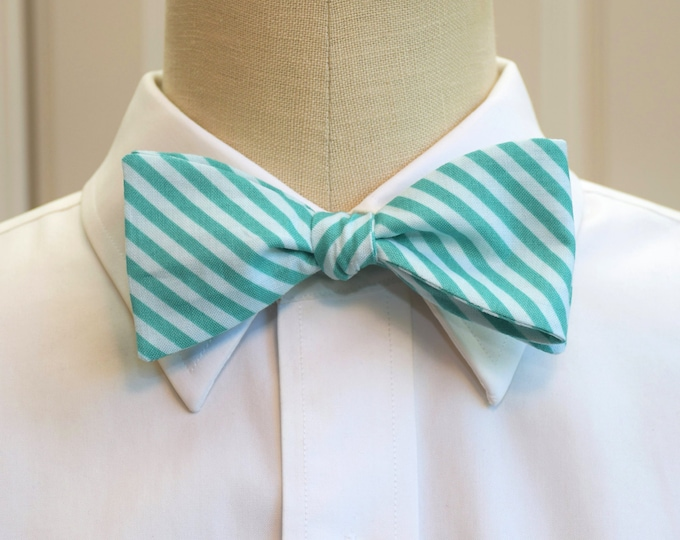 Men's Bow Tie, teal and aqua stripes, geometric print bow tie, wedding party wear, groom/groomsmen bow tie, tux accessory, striped bow tie