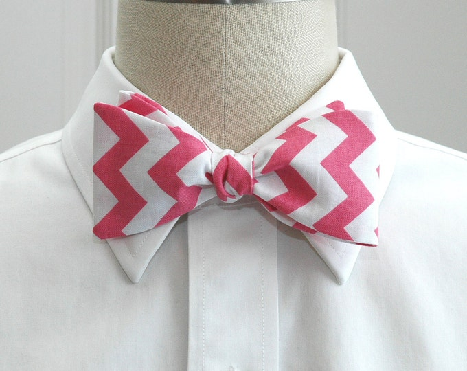 Men's Bow Tie with pink chevrons, geometric print bow tie, wedding party wear, groomsmen gift, groom bow tie, rose pink chevrons bow tie