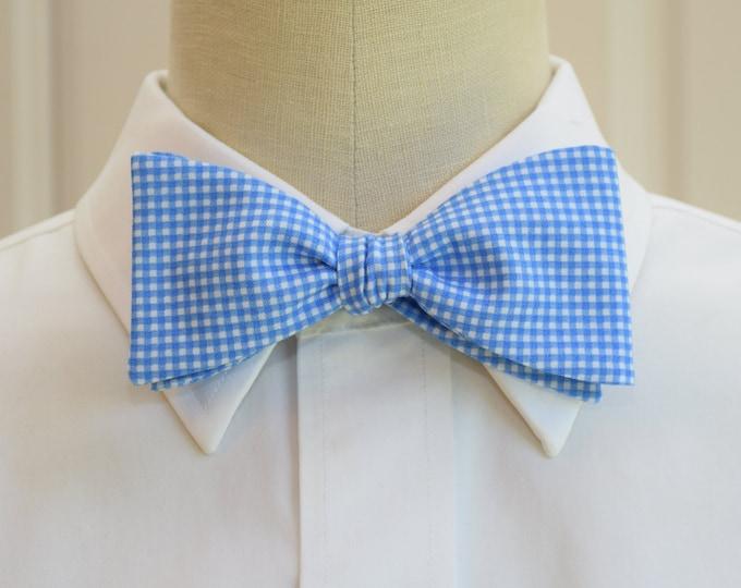 Men's Bow Tie, pool blue mini gingham, bright blue mini gingham bow tie, wedding bow tie, groom bow tie, groomsmen gift, summer bow tie,