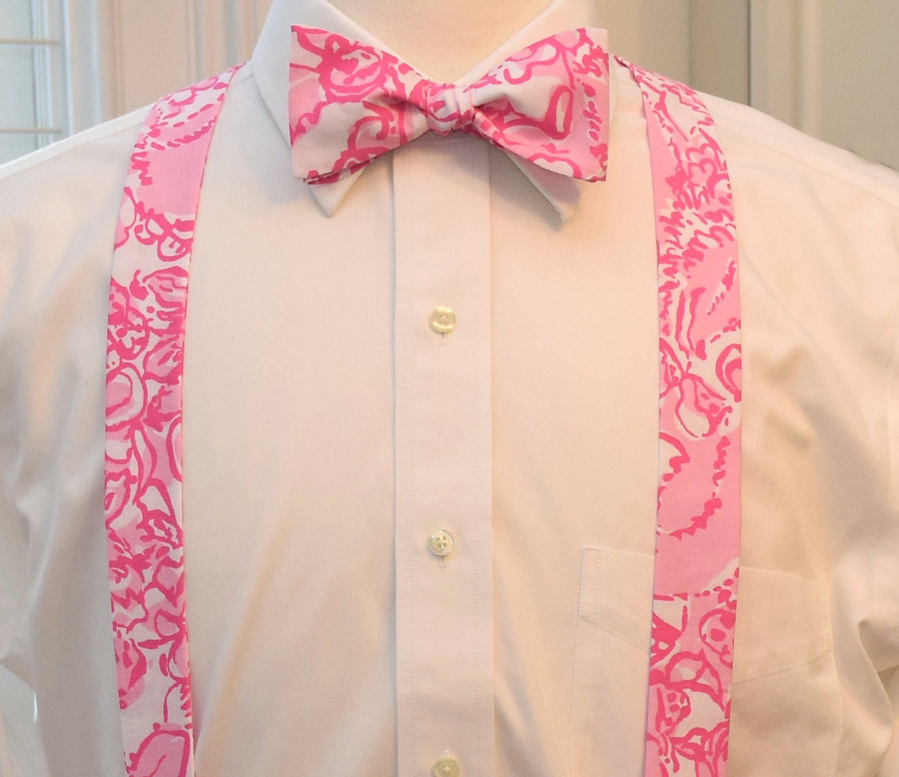 30207b70e043 Men's Suspenders & Bow Tie set, Lilly pink She's A Fox, clip on ...