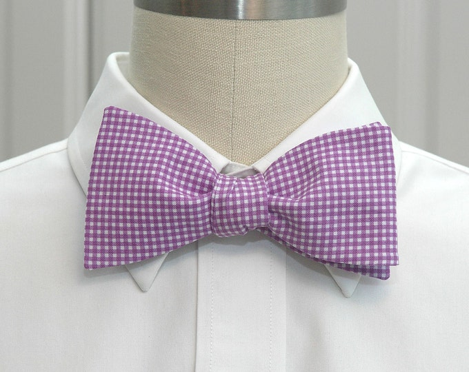 Men's Bow Tie, purple mini gingham, wedding bow tie, wedding party attire, groom bow tie, groomsmen gift, deep lilac bow tie, Easter bow tie