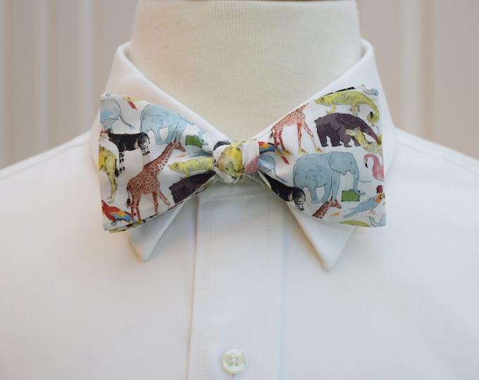 Men's Bow Tie, zoo print, animals bow tie, zoo wedding bow tie, animal lover gift, veterinarian gift, Liberty of London wildlife bow tie