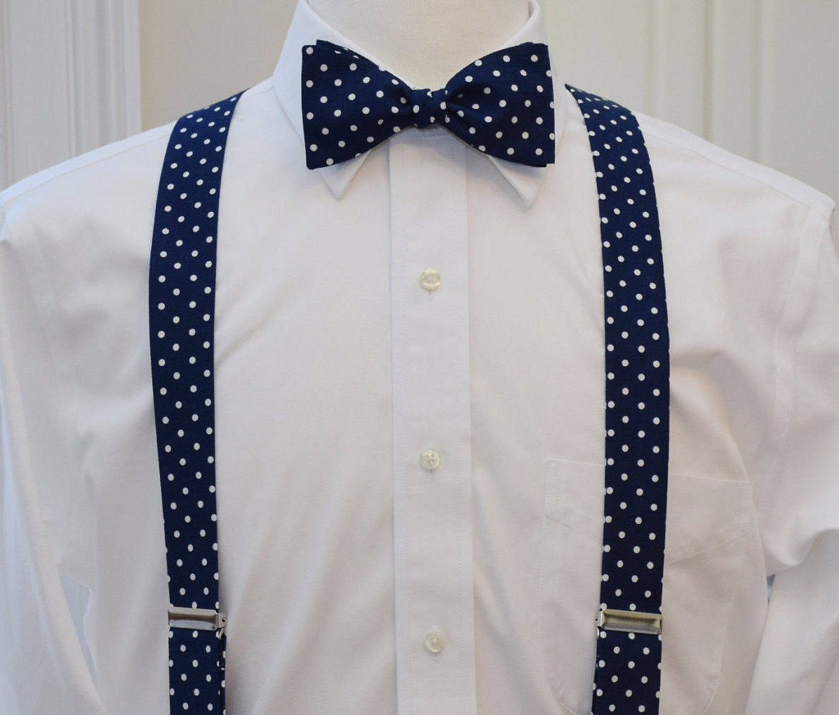 Men S Suspenders And Bow Tie Set Navy With White Polka Dots Custom