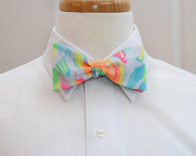 Men's Bow Tie, Sparkling Sands 2017 rainbow Lilly print, wedding bow tie, groom/groomsmen bow tie, Carolina Cup/Kentucky Derby/prom bow tie