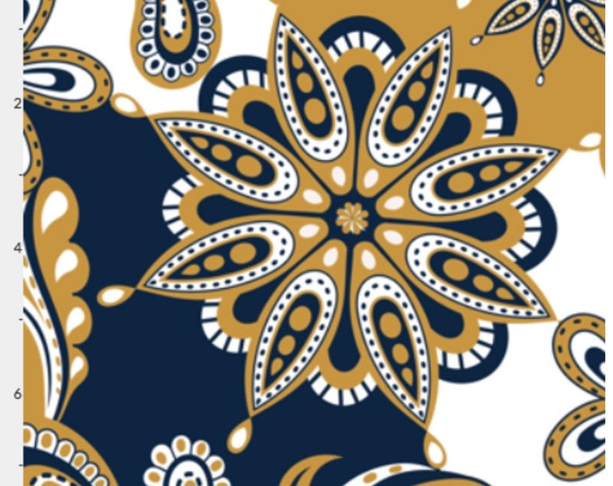 CUSTOM ORDER for Kimb B, 1 man's self-tie bow tie and matching pocket square in Notre Dame colors paisley mandala fabric per photo