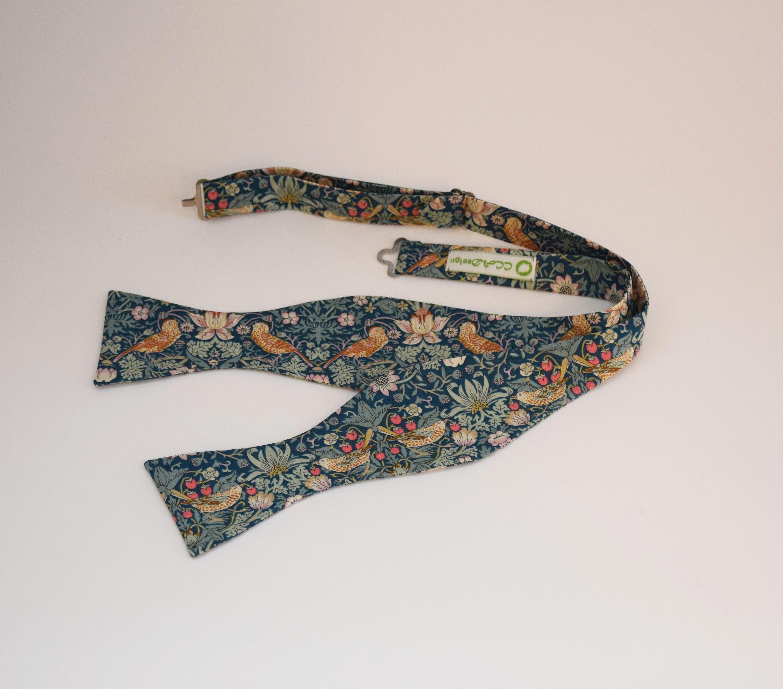 William Morris design Liberty print bow tie Strawberry Thief brown bow tie Liberty bow tie