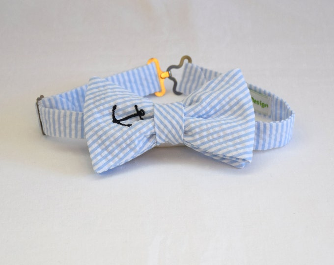 Boy's Bow Tie, pale blue seersucker, navy anchor, father/son matching ties, wedding accessory, toddler bow tie, ring bearer bow tie, Easter