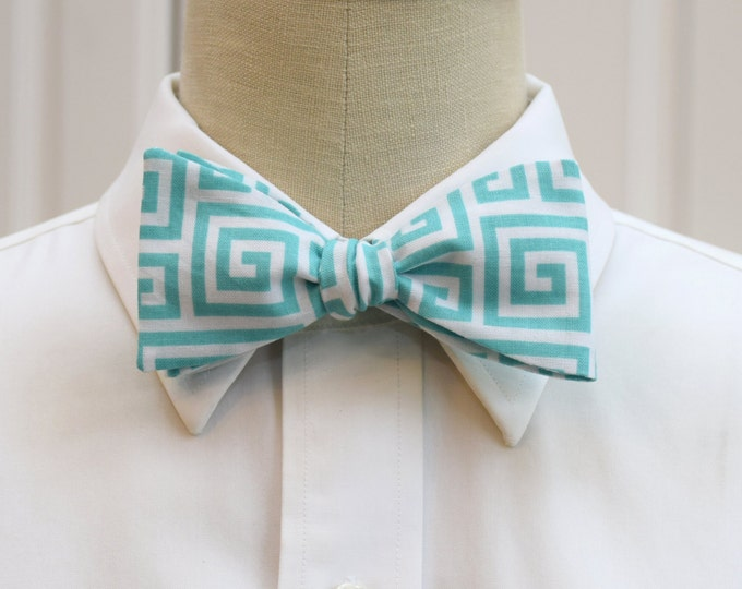 Men's Bow Tie, aqua/white Greek key design, geometric print bow tie, wedding party bow tie, groom/groomsmen bow tie, greek life bow tie,