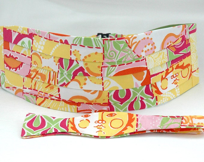Cummerbund & Bow Tie, yellow/pink/green multi Happy Hour Lilly print, groom formal wear, wedding party attire, tuxedo accessory, prom style