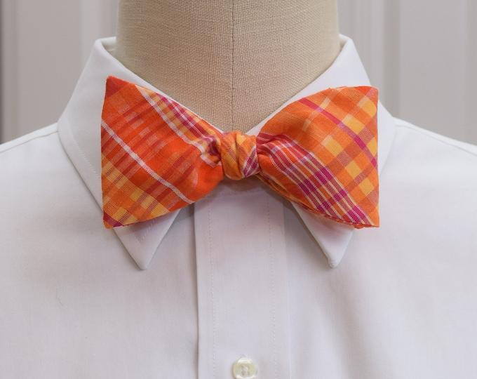 Men's Bow Tie, bright orange hot pink plaid seersucker, wedding bow tie, groom bow tie, groomsmen gift, prom bow tie, vivid Easter bow tie,