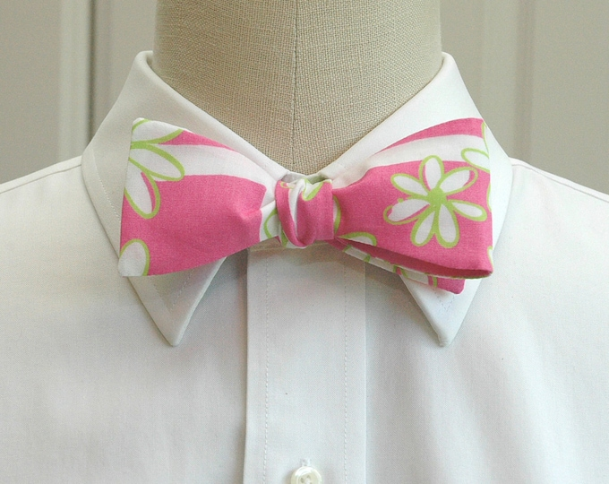 Men's Bow Tie, Finish Line hot pink and green Lilly print, floral bow tie, wedding bow tie, groom bow tie, groomsmen gift, prom bow tie,