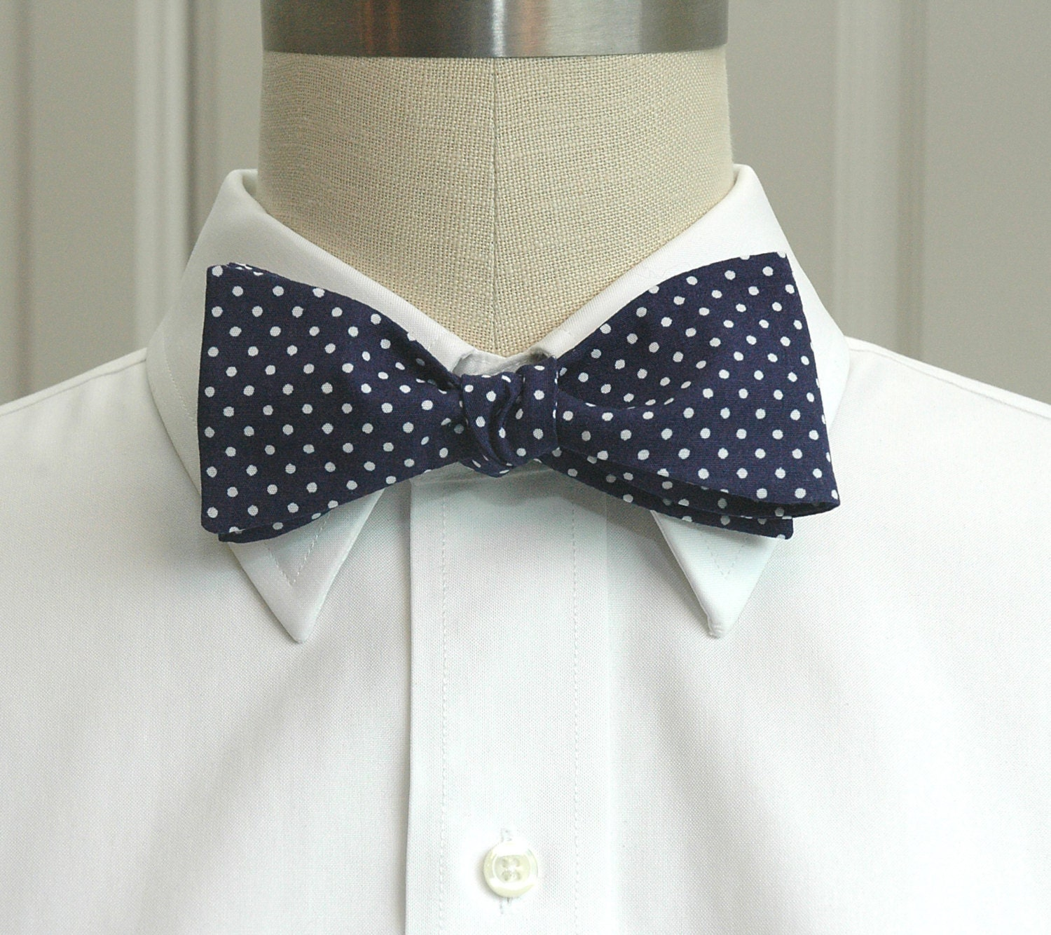 65a9a13a3460 Men's Bow Tie, navy blue with white mini dots bow tie, Churchill bow ...
