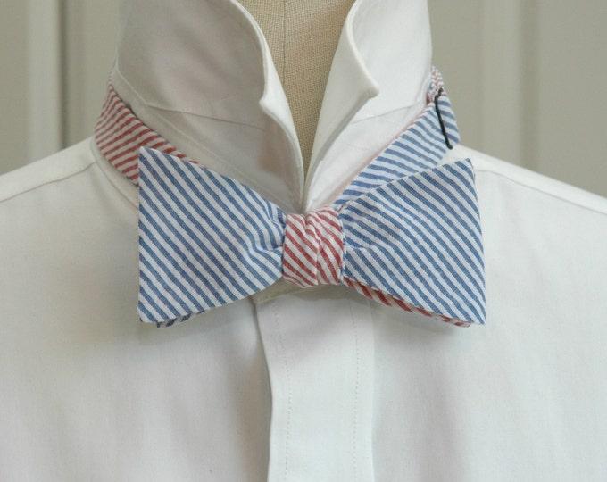 Men's Reversible Bow Tie, blue & red seersucker, wedding party tie, groom bow tie, groomsmen gift, preppy bow tie, self tie bow tie,
