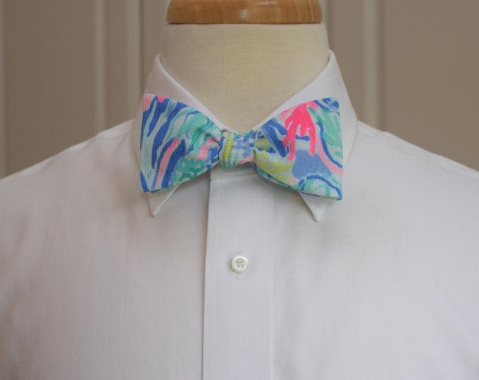 Men's Bow Tie, Mermaid Cove blue/multi Lilly print, wedding bow tie, groom/groomsmen bow tie, prom bow tie, Carolina Cup tie, Derby bow tie