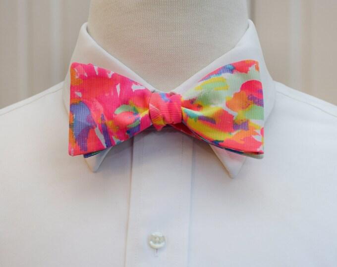 Men's Bow Tie, Palm Beach Coral neon bright/aqua/blues Lilly print bow tie, groomsmen/groom bow tie, wedding bow tie, prom bow tie, tux tie