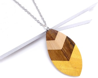 Mosaic Mixed Wood Leaf/Feather Shield Pendant, Stainless Steel Bail, Multicolored, Artisan Made, Natural Wood, 70x35x7mm, 1pc - ID 2592-PNDT