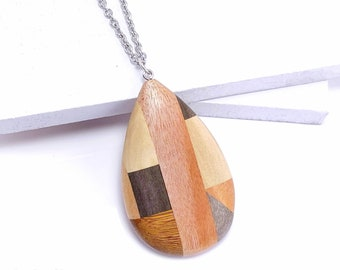 Mosaic Mixed Wood Teardrop Pendant with Stainless Steel Bail, Multicolored, Large, Artisan Made, Natural Wood, 68x40x9mm, 1pc - ID 2594-PNDT